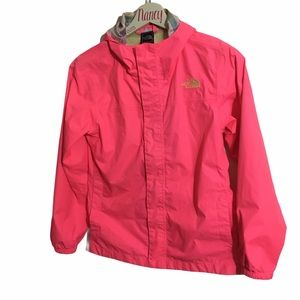 Girls pink The North 𝗙𝗮𝗰𝗲 hooded Fall Jacket.